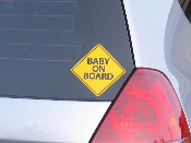 "Baby On Board Decal - Yellow Sign Safety Sticker 4"" x 4"""