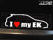 I love my Honda Civic EK hatchback decal