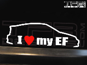 I love my Honda Civic EF CRX decal