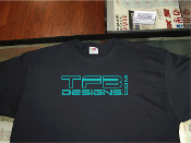 TFB Designs logo shirts, many sizes and colors!