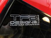 TFB Designs white on clear vinyl decal.