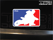 Supermoto rider carving decal, NBA style.