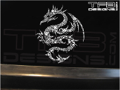 Detailed dragon vinyl decal made with many small white flowers!