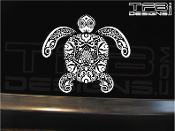Tattoo style turtle decal made with white ink on clear vinyl.