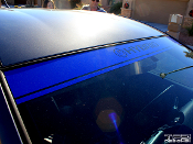 Toyota Prius windshield banner decal installed in royal blue.