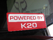 Powered by K20 Decal - K Series Motor / Swap JDM Vinyl Sticker