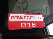 Powered by B16 Decal - B Series Motor / Swap EM1 EK EG JDM Decal