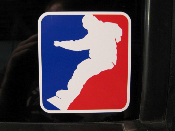 Snowboard Decal- NBA Style Snowboarder Sticker - Red White Blue