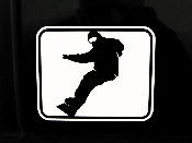 Snowboard Decal with Background- Snowboarder Carving