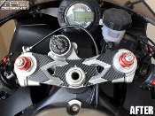 Carbon fiber triple clamp decal for the 2005-2006 Kawasaki Ninja ZX-6R.