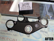 Carbon fiber triple tree clamp decal for the 2006-2009 Yamaha R6s.