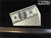 One hundred dollar bill stack vinyl decal.