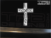 Detailed cross decal with wooden look made with white ink on clear vinyl.