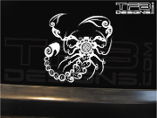 Tattoo style scorpion decal made with white ink on clear vinyl.