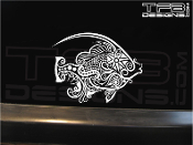 Tattoo style fish decal made with white ink on clear vinyl.