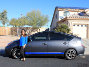 Toyota Prius Hybrid side stripes installed in royal blue.