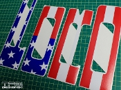 Front grill lettering decals for the 2010 - 2014 Ford Raptor with the American flag.