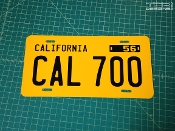 Custom California license plate made with the letters and numbers of your choice.